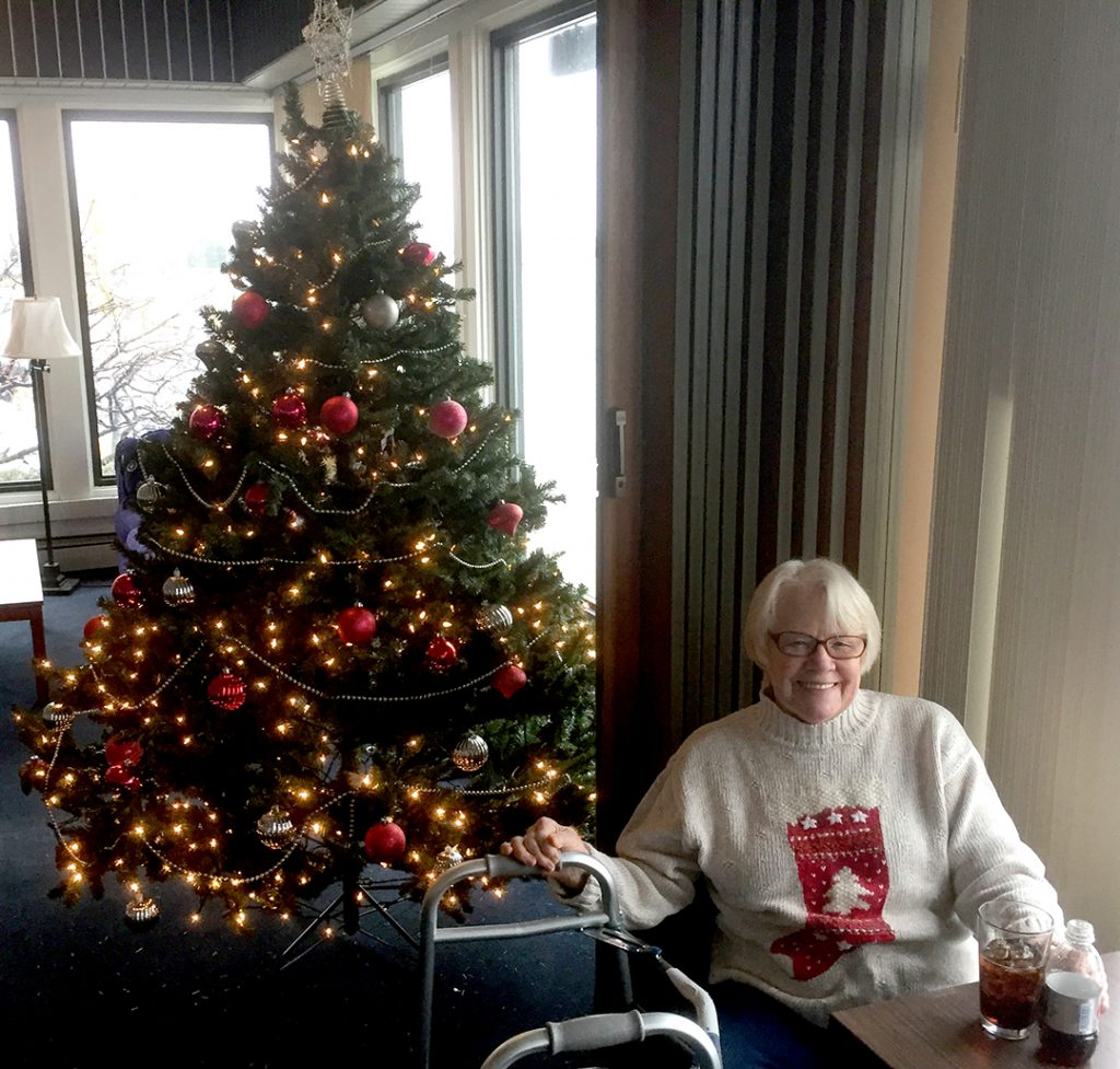 Lynne Hellquist brought holiday cheer to the club.