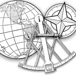 illustrations of the earth, a sextant and a compass rose