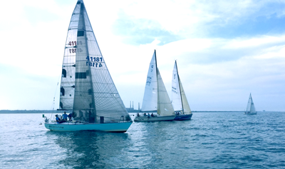 sailboats racing on Lake Michigan