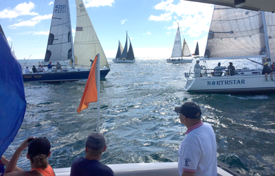 Starting line for sailboat race