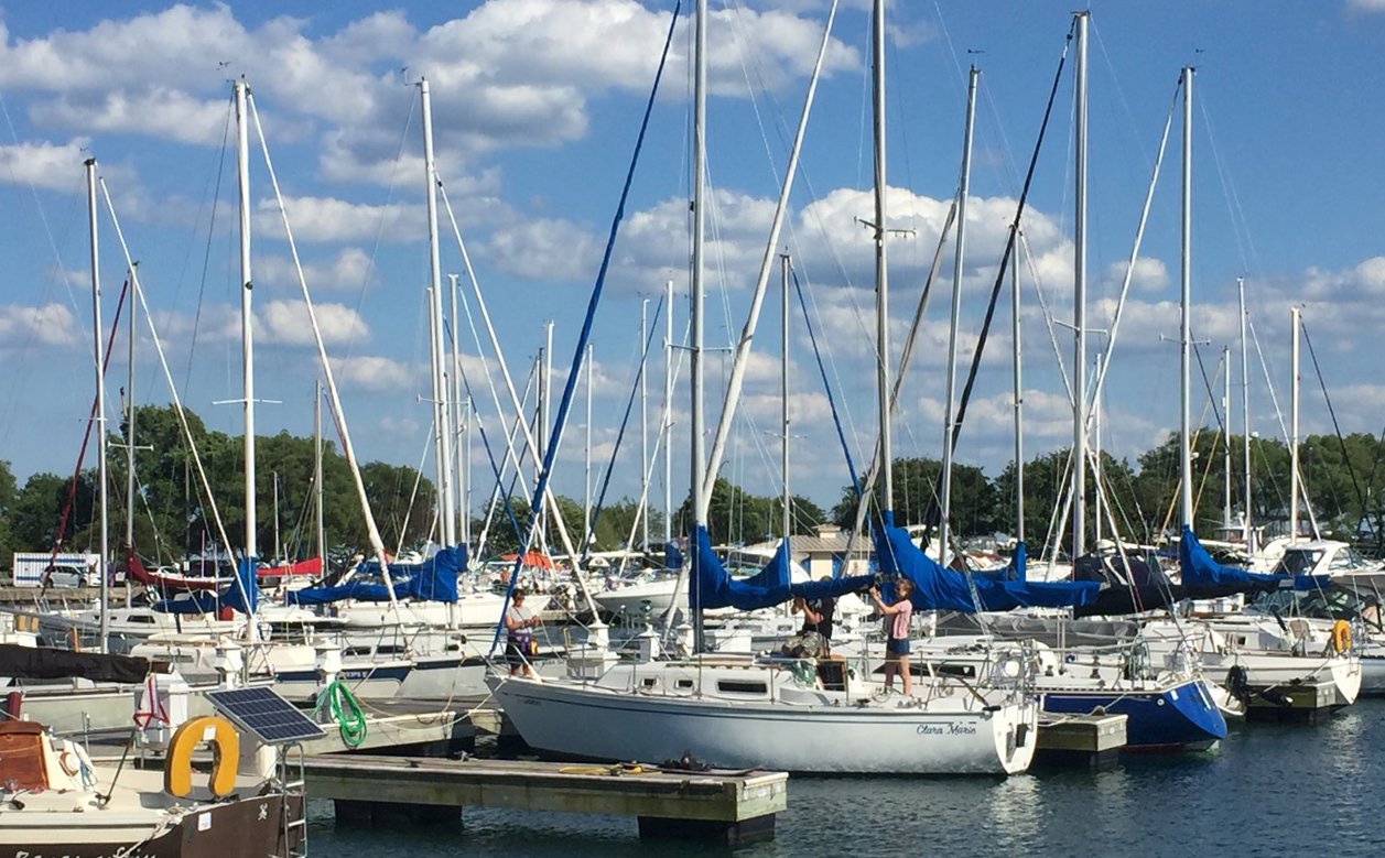 sailboats in Waukegan harbor