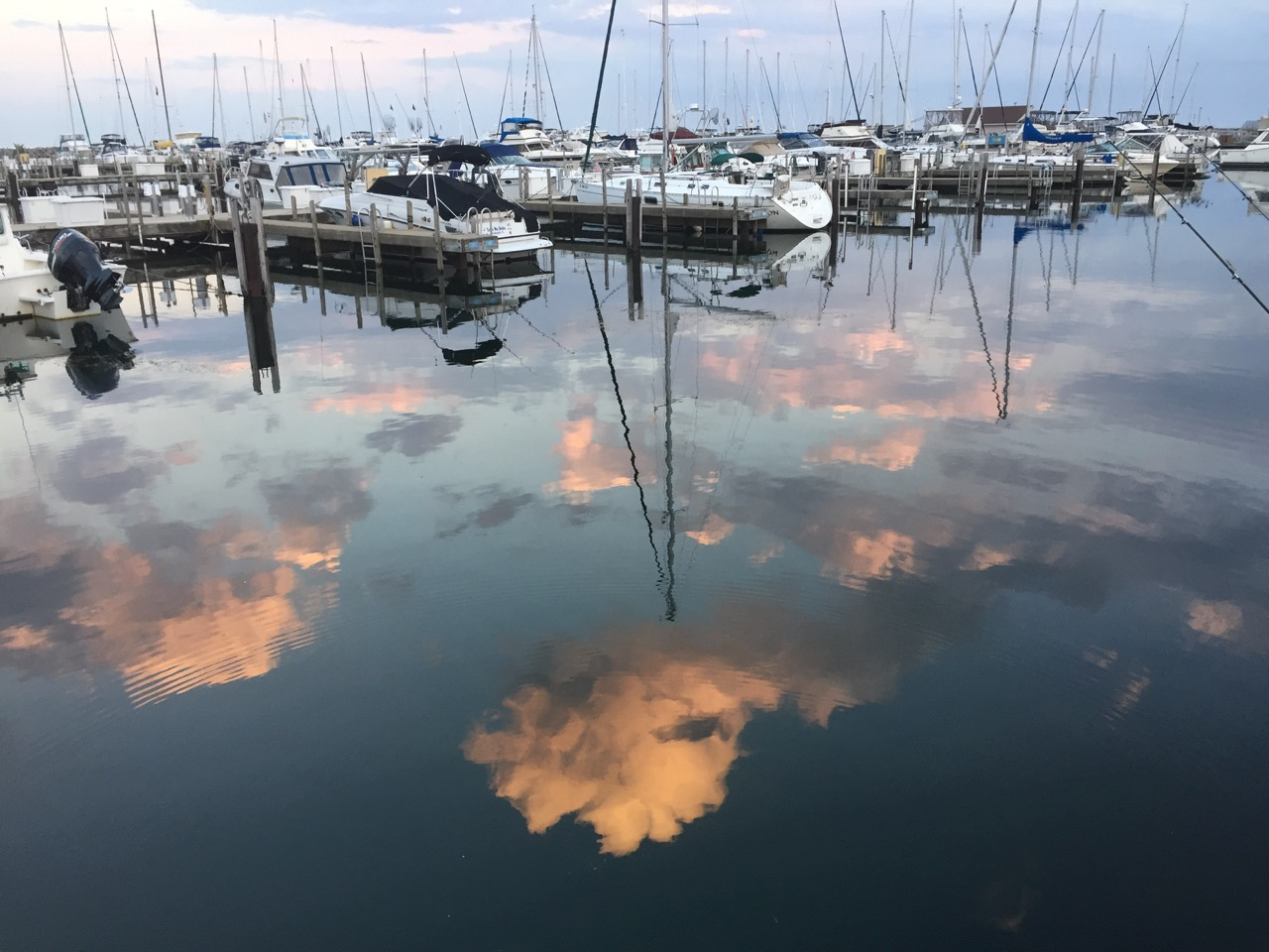 clouds reflected on the water in Waukegan Harbor