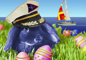 Easter bunny wearing a yacht cap
