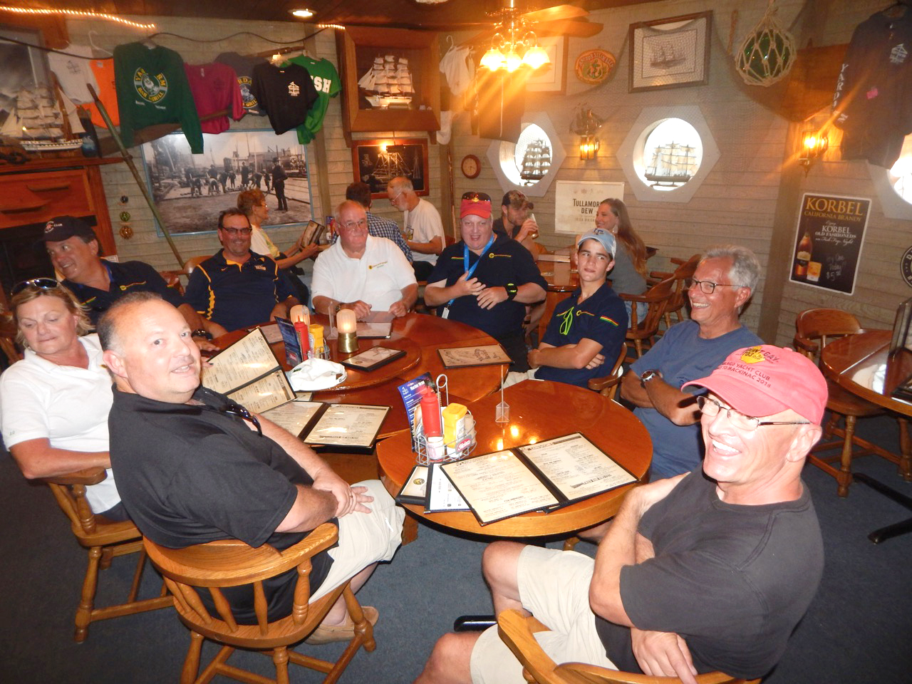 crew of sailing vessel Spitfire at dinner