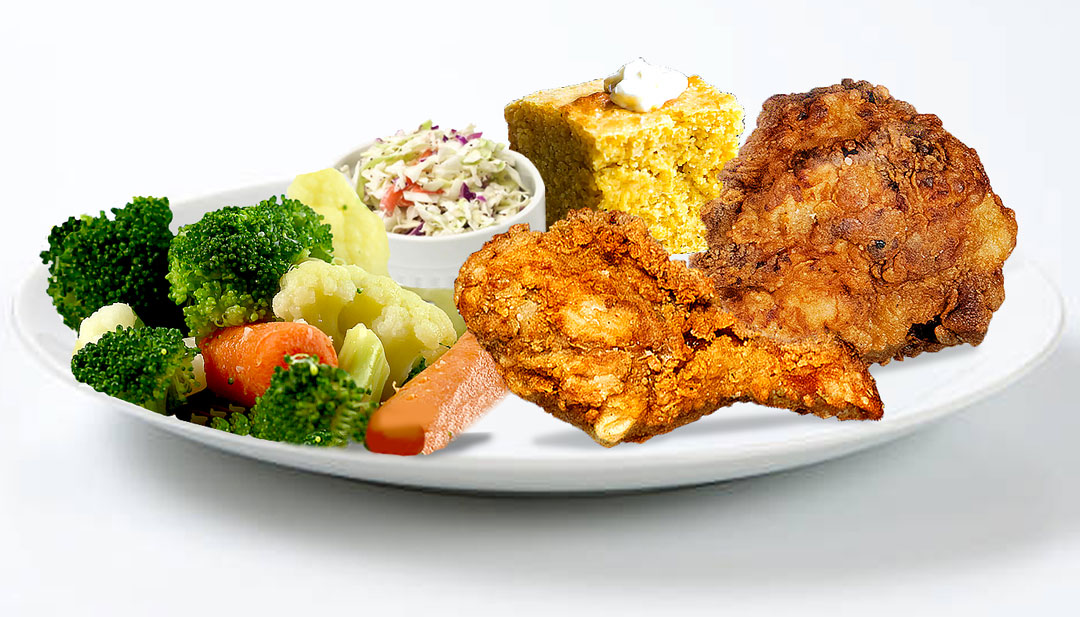 Black and Blues Southern Fried Chicken dinner